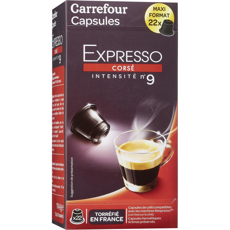 Café Capsules Expresso Corsé N 9 Carrefour Pas Cher Au