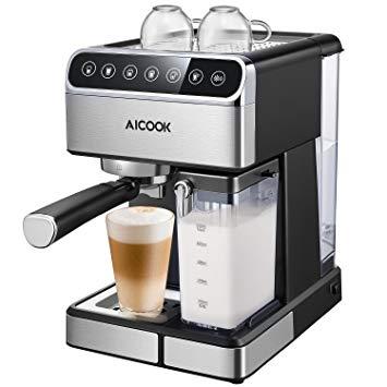 Cafetiere Aicook, Cafetiere automatique et Cafetiere expresso avec écran  numérique et Cappuccinatore, 15 bar