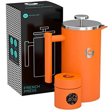 CAFETIERE A Piston/A Pression Orange 1 Litre en INOX de qualité supérieure  avec parois