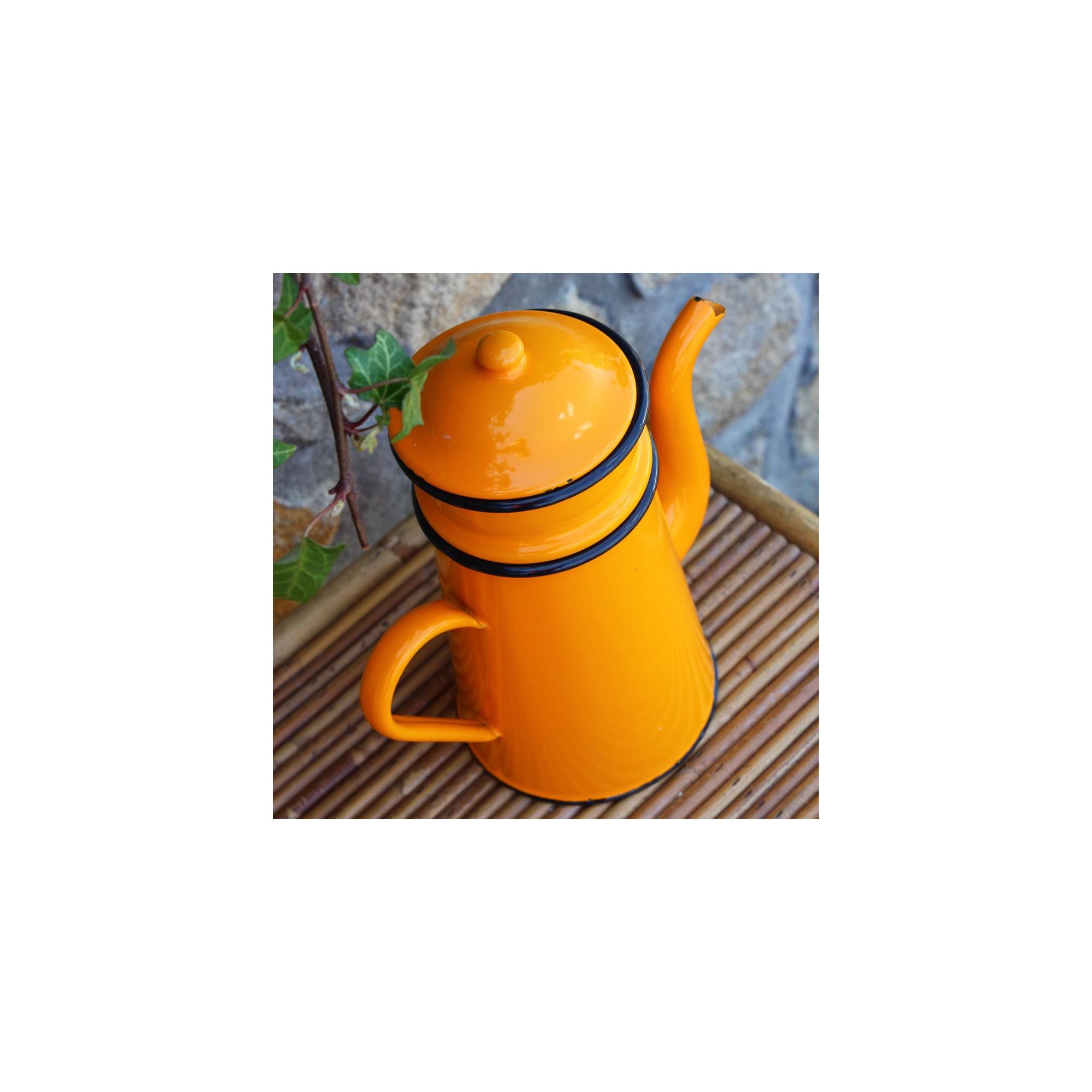 *BROC* Cafetière émaillée vintage orange, 25 cm (H). Loading zoom