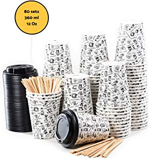 80 Gobelets Carton pour Café à Emporter - Tasse Café 360ml avec Couvercles  et Agitateurs en