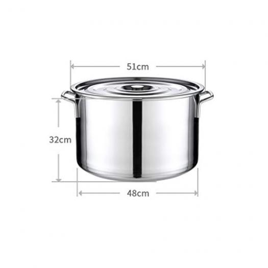 WEIFAN-Kitchen Pot Seau en Acier Inoxydable Tambour épaissi Marmite à  Cuisson Profonde avec Couvercle Seau à Eau Domestique Seau à Riz Tout Usage  50L / 50cm ...