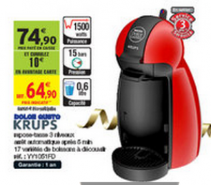Intermarché : Machine à Café Dolce Gusto à 24,90€ au lieu de 74,90€  (optimisation)